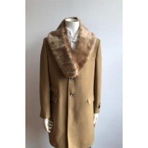 Mens Wool Carcoat Overcoat With Fur Collar Camel Long Peacoat