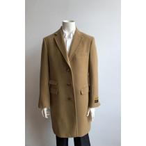 Mens Wool Three Quarter Ticket Pocket Peacoat ~ Carcoat ~ Overcoat With Fur Collar Camel-no fur