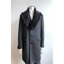 Mens Wool Three Quarter Ticket Pocket Peacoat ~ Carcoat ~ Overcoat With Fur Collar Charcoal