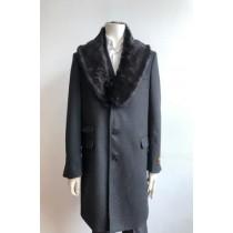 Mens Wool Three Quarter Ticket Pocket Peacoat ~ Carcoat ~ Overcoat With Fur Collar Charcoal