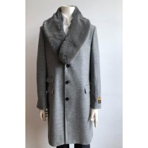 Mens Wool Three Quarter Ticket Pocket Peacoat ~ Carcoat ~ Overcoat With Fur Collar LT Gray