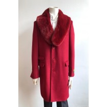 Mens Wool Three Quarter Ticket Pocket Peacoat ~ Carcoat ~ Overcoat With Fur Collar Red