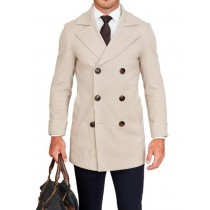 Mens Tan Wool Fabric Peacoat Available in big and tall sizes