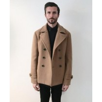 Mens Camel ~ Tan Wool Fabric Peacoat