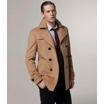 Mens Camel ~ Tan ~ Beige ~ Khaki Wool Fabric Peacoat