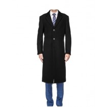 Three Button Solid Pattern Modern OverCoat Black