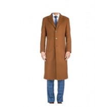 Three Button Solid Pattern Modern OverCoat Caramel