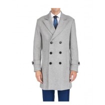 Mens Double Breasted Coat Notch Lapel LT Grey Mens Peacoat