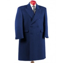 Navy Blue Wool Double Breasted Overcoat  Full Length - Mens Topcoat