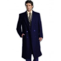 NAVY BLUE WOOL DOUBLE BREASTED WOOL OVERCOAT FULL LENGTH