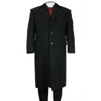 Mens Notch Lapel Full Length Topcoat in Black