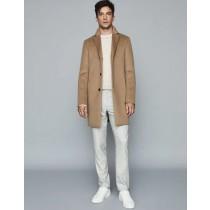 Mens Wool Epsom Three Button Overcoat Camel