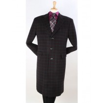 Plaid Three Button Pattern Windowpane Wool Overcoat