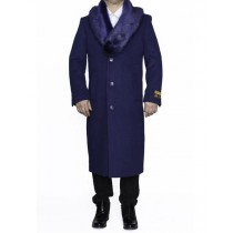 Indigo Blue Removable Fur Collar mens full length Mens Topcoat