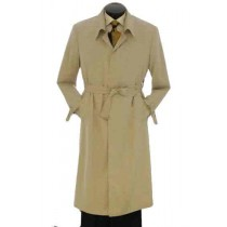 Full Length Khaki Trench Coat Mens Rain Coat with belted