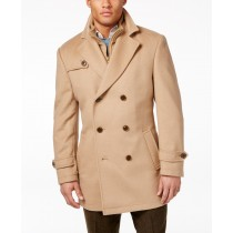 Double-Breasted camel Wool-Blend Lauren Ralph Lauren Peacoat with Knit Bib Inset