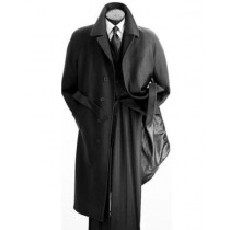 Men's Full Length Wool Overcoat Belted Charcoal Grey