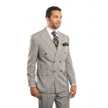 mens double breasted coat Plaid Light Grey Windowpane Peak Lapel Sport Coat