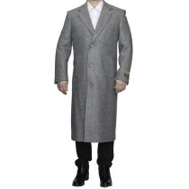 Mens Full Length Wool Light Grey Top Coat / Overcoat