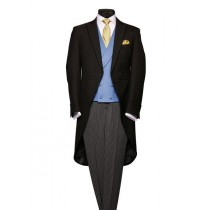 Mens Wool Black Herringbone Silk Piping Morning Coat