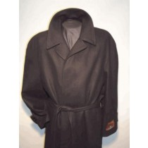 Wool blend Black Belted 4 hidden buttons Overcoat for mens