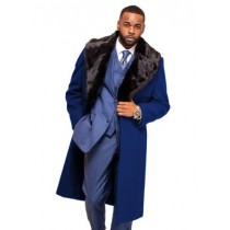 Long Men's Dress Topcoat - Winter Coat With Fur Collar In Cashmere