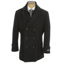 Navy Double Breasted Notch Lapel Wool Peacoat