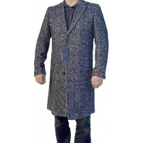 Long Tweed Coat - Grey Harris Tweed Overcoat - Wool Mens Overcoat