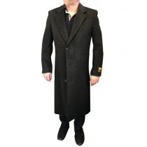 Herringbone Houndstooth Cashmere Blend Overcoat ~ Long Men's Dress