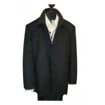 "Mantoni ""SB Pea Coat"" in Wool Black for mens - Cashmere Topcoat - Mens Cashmere Overcoat - Cashmere Coat"
