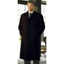 Mens Hidden Buttons Wool Blend Solid Black Overcoat