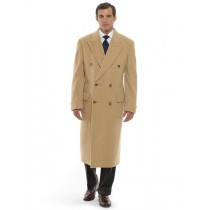Mens Dress Coat 44 Inch Long Length Double Breasted Wool Blend Overcoat - Mens Tan Overcoat