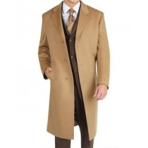 Mens Camel Wool Blend  Extra Fine Fabric Topcoats - Mens Tan Overcoat