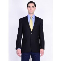 Black Solid Two Button Wool Blazer buttons Sport coat