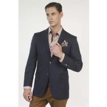 Navy Solid Two Button Wool Mens Blazer buttons Jacket Sport coat