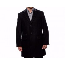 Mens Dress Coat Wool Single Breasted Three Button Coat Black