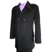 Double Breasted Long Length Pea coat Wool Blend Six Button Black Mens Peacoat