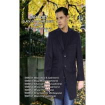 Black Checked 3 Buttons Length Full Sleeve Car Coat