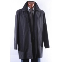 Mens Dress Coat Black Three Quarter Length Raincoat-Trench Coat