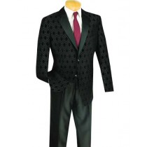 Mens Shawl Lapel Plaid Windowpane Sportcoat Black