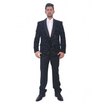 Mens Two Button Black Floral Pattern Sport Coat
