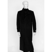 Mens Black Four Buttons Full Length Coat Duster Maxi