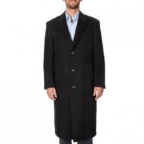 Herringbone Three Button 'Harvard' Black Tweed Full-Length Coat