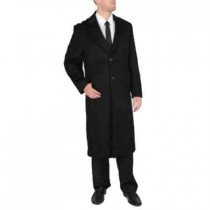 Two Button 'Harvard' Black Wool-cashmere coat mens full length