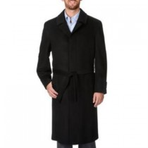 BLACK WOOL AND CASHMERE FULL-LENGTH COAT