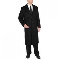 TWO BUTTON 'HARVARD' BLACK WOOL-MENS FULL LENGTH - CASHMERE TOPCOAT - MENS CASHMERE OVERCOAT - CASHMERE COAT