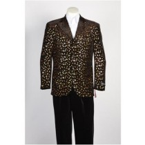 Black Gold Fashion Paisley Floral Blazer Sportcoat