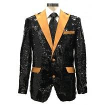 Mens Black ~ Gold Shiny Pattern Satin Peak Lapel Reversible Sequin Blazer