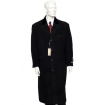Mens Black Notch Lapel Full Length All Weather Coat Duster Maxi Coat