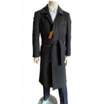 Mens Black Overcoat - Full Length Topcoat - Wool Coat